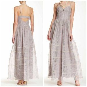 Betsey Johnson Corset Bodice Long lace gown 10